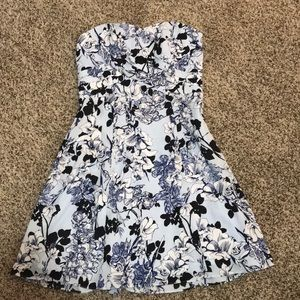 Express strapless blue floral dress